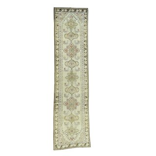 "Shahbanu Rugs Handmade Antique Caucasian Karabakh Pure Wool Wide Runner Rug (3'8""x15'0"")"