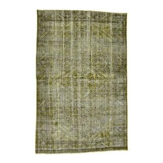 "1800getarug Handmade Worn Persian Hamadan Overdyed Pure Wool Oriental Rug (5'5""x8'2"")"