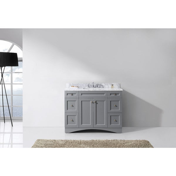 Virtu USA Elise 48-inch Square White Marble Single Bathroom Vanity Set with No Mirror
