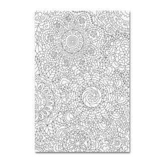Miguel Balbas 'Pattern Flowers 2 Line' Canvas Art