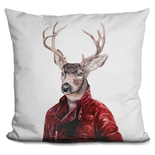 Animal Crew 'Deer in leather' Throw Pillow