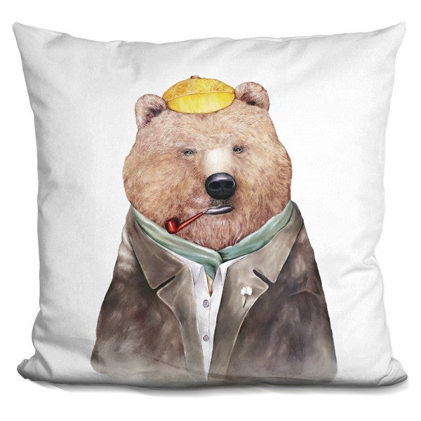 Animal Crew 'Brown bear' Throw Pillow