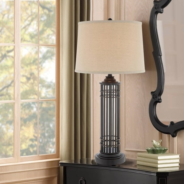 """Catalina Milo 33"""" 3-Way Open Cage Metal Table Lamp"""