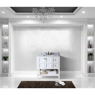 Winterfell 36-inch Single Vanity White Marble Top Square Sink