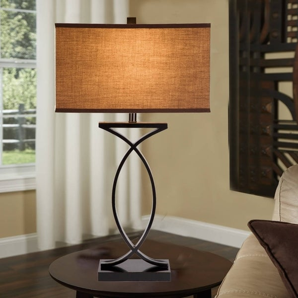 """Catalina Aria 28"""" 3-Way Black with Gold Highlights Metal Table Lamp"""