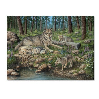 Robert Wavra 'Grey Wolf Mother And Pups' Canvas Art