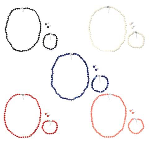 "Michael Valitutti Palladium Silver Gemstone Bead 20"" Necklace, 7.25"" Bracelet & Stud Earrings Set"
