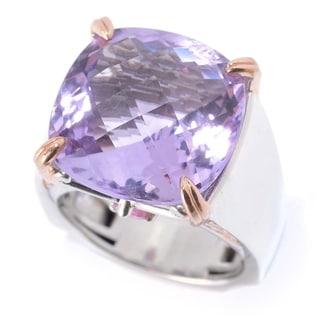 Michael Valitutti Palladium Silver Cushion Pink Amethyst & Pink Tourmaline Ring