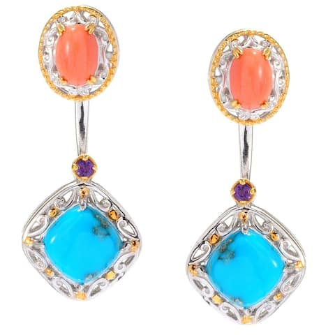 Gems en Vogue Palladium Silver Arizona Turquoise & Amethyst Earrings w/ Coral Jackets