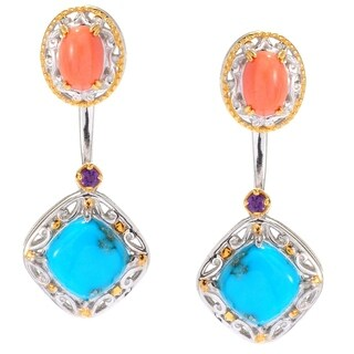 Michael Valitutti Palladium Silver Arizona Turquoise & Amethyst Earrings w/ Coral Jackets