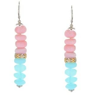 Michael Valitutti Palladium Silver Blue & Pink Opal Bead Dangle Earrings