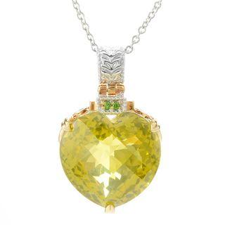 Michael Valitutti Palladium Silver Ouro Verde & Chrome Diopside Heart Pendant