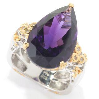 Michael Valitutti Palladium Silver African Amethyst, Pink Tourmaline & Diamond Pear Shaped Ring
