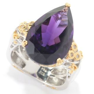 Michael Valitutti Palladium Silver African Amethyst, Pink Tourmaline & Diamond Pear Shaped Ring (Option: 11)