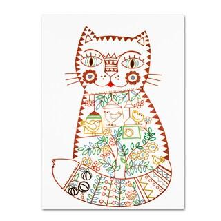 Oxana Ziaka 'Folk Cat 1' Canvas Art