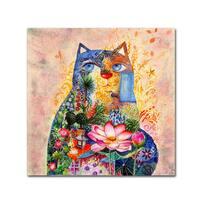 Oxana Ziaka 'Lotus Cat' Canvas Art