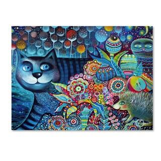 Oxana Ziaka 'Indigo Cat' Canvas Art