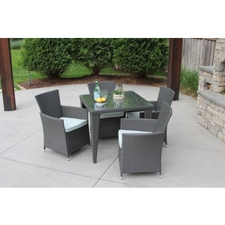 5 PC Outdoor All-Weather Grey Rattan Wicker Textured Glass Table Patio Garden Dining Set w/ Premium Storage Cover