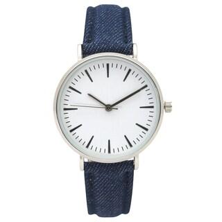 Olivia Pratt Women's Classic Simple Stick Hour Markers Denim Watch One Size (Option: Blue)