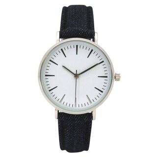 Olivia Pratt Women's Classic Simple Stick Hour Markers Denim Watch One Size