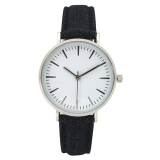 Olivia Pratt Women's Classic Simple Stick Hour Markers Denim Watch One Size