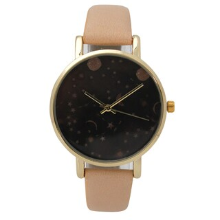 Olivia Pratt Women's Celestial Night Sky Leather Watch One Size (Option: Beige)