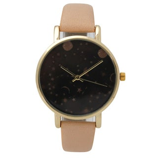 Olivia Pratt Women's Celestial Night Sky Leather Watch One Size