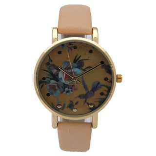 Olivia Pratt Women's Soft Flowers and Birds Design Dot Hour Marker Leather Watch One Size