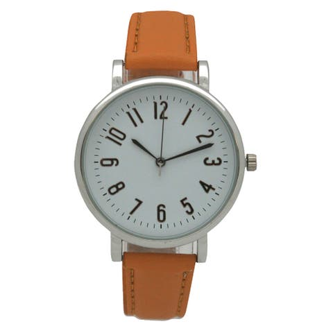 Olivia Pratt Women's Classic Sporty Numbered Hour Markers Leather Watch One Size