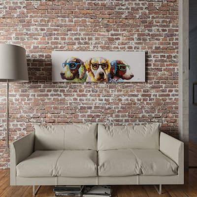 Yosemite Home Decor 'Cool Dogs' Original Hand-painted Wall Art - multi