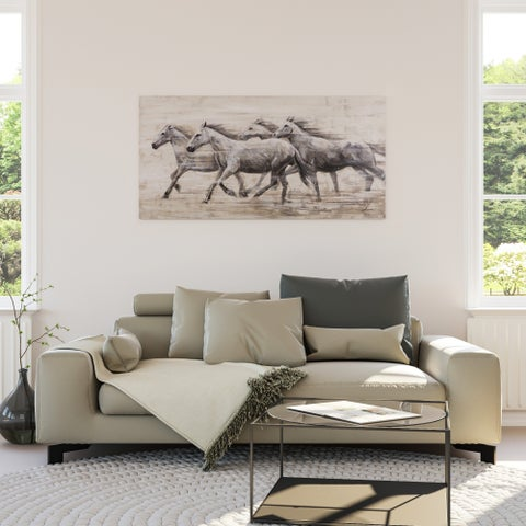 Yosemite Home Decor Horses In The Wind Original Hand-Painted Wall Art