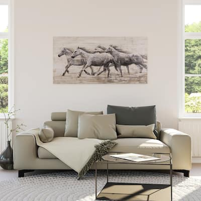 Yosemite Home Decor Horses In The Wind Original Hand-Painted Wall Art - Multi-Color