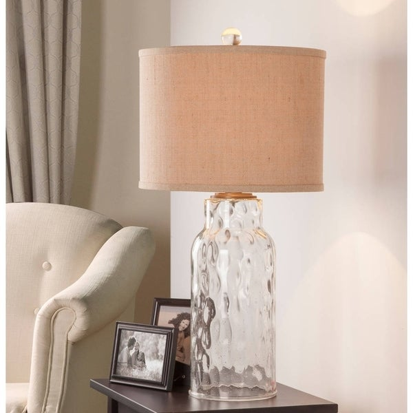 "Catalina Ollie 29"" 3-Way Clear Dimpled Glass Table Lamp"