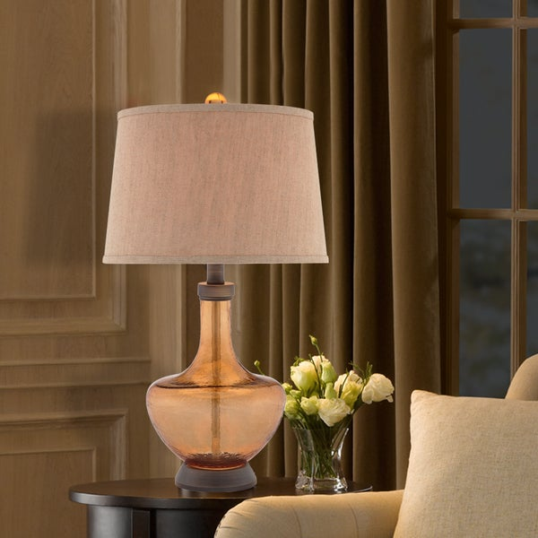 """Catalina Cloverfield 29"""" 3-Way Amber Glass Table Lamp"""