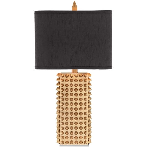 "Catalina Manhattan 28.75"" 3-Way Square Gold Spiked Table Lamp"