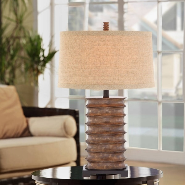 "Catalina Pierce 30"" 3-Way Rustic Bronze Table Lamp"