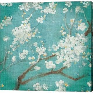 Danhui Nai 'White Cherry Blossoms I on Blue Aged No Bird' Canvas Art
