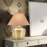 Catalina 19961-000 Morgan 3-Way 27-inch Opaque Champagne Blown Glass Table Lamp with Natural Linen Empire Shade