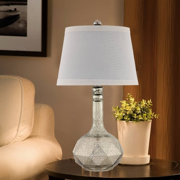 Catalina 19134-000 Harper Silver Mercury Glass 28-inch 3-way Faceted Table Lamp with Textured Linen