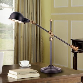 "Catalina Nelson 19944-000 26"" Adjustable Antique Brass and Matte Black Metal Desk Lamp"