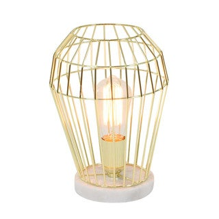 Caged Structure Golden Metal Accent Light With Bulb