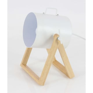 Elegantly Designed Metal Wood Spot Light, White And Brown