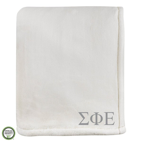 Vellux Sheared Mink Ivory Sigma Phi Epsilon Monogram Blanket