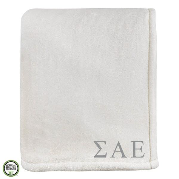 Vellux Sheared Mink Ivory Sigma Alpha Epsilon Monogram Blanket