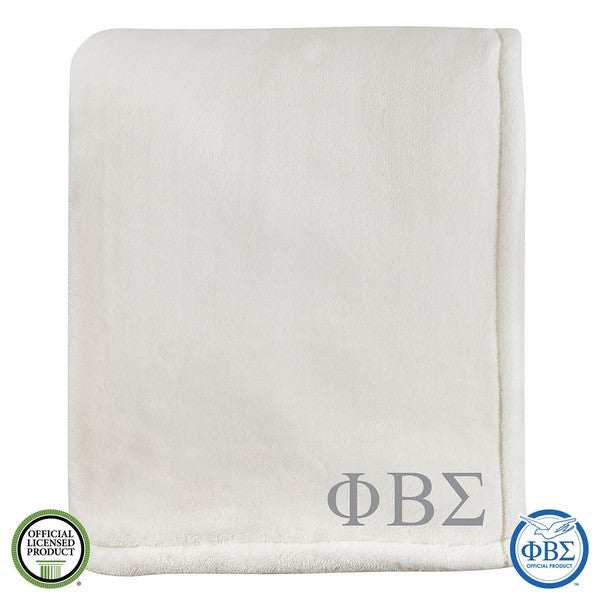 Vellux Sheared Mink Ivory Phi Beta Signa Monogram Blanket
