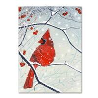 Michelle Campbell 'Red Cardinal Xmas Card' Canvas Art