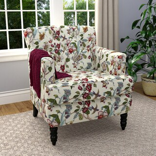 Handy Living Simona Multi Floral Linen Arm Chair