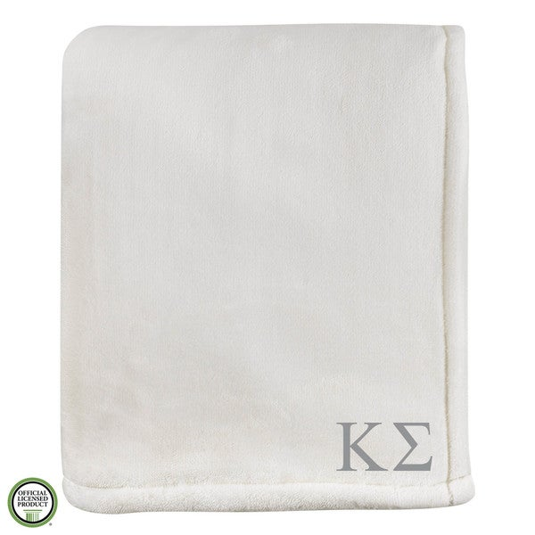 Vellux Sheared Mink Ivory Kappa Sigma Monogram Blanket