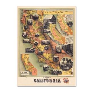 Vintage Lavoie '1888 U Map of CA' Canvas Art