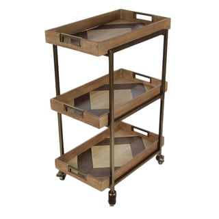 Royal Brown Metal Wood 3 Tier Cart